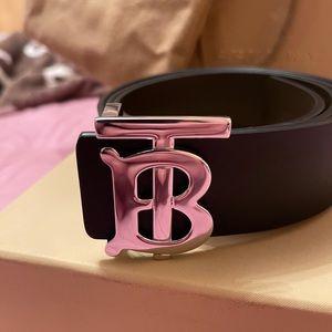 BURBERRY Reversible Monogram Motif Leather Belt -Silver Buckle - Size 38 - 100cm